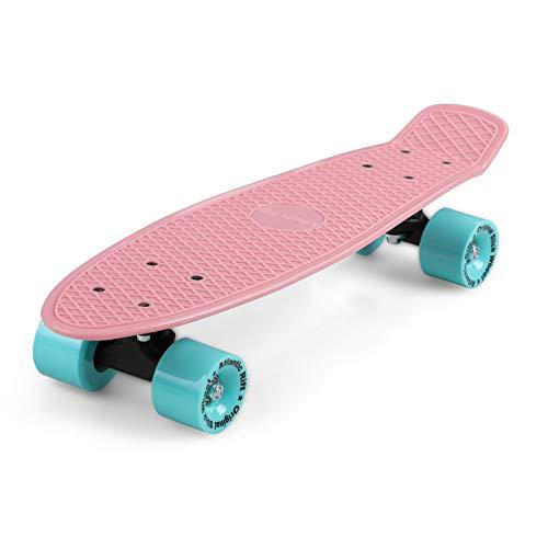 Deuba Skateboard Mini Cruiser Kinder Jugendliche Erwachsene Retro Penny Board 22 Zoll ABEC 7 LED 60 mm Rollen Funboard 100kg