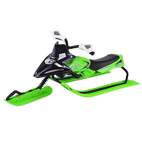 UISERBT Lenkschlitten für Kinder - Bob Kinderschlitten Schlitten mit Fußbremse und Automatisches Zugseil, Kufenlenkung, bis 60 kg (Type B, Grün)