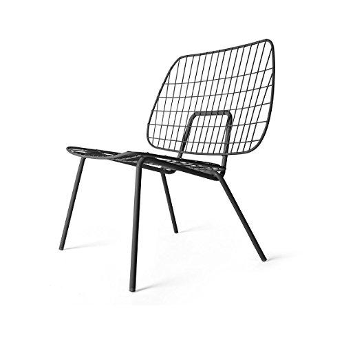 men-u WM String Lounge Chair - Chaise Noir/Peint par poudrage/PxHxP 66x71,5x53cm/pour Interieur et Exterieur