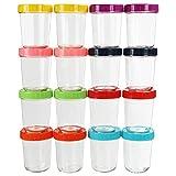 Belle Vous Recipientes Comida Bebe de Vidrio con Tapas de Plástico (Pack de 16) 350 ml Recipiente Hermetico Transparente Redondo – Libre de BPA y Plomo – Apto Lavavajillas, Congelador, Refrigerador