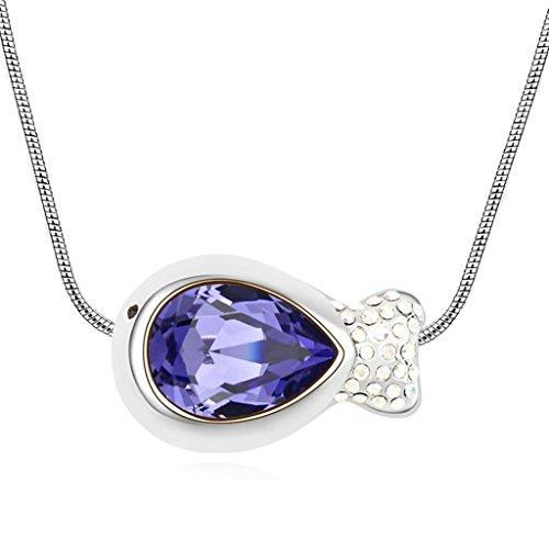 Daesar Schmuck Damenkette Vergoldet Fisch Synthetische Kristall Halskette Zirkonia Halskette Anhänger