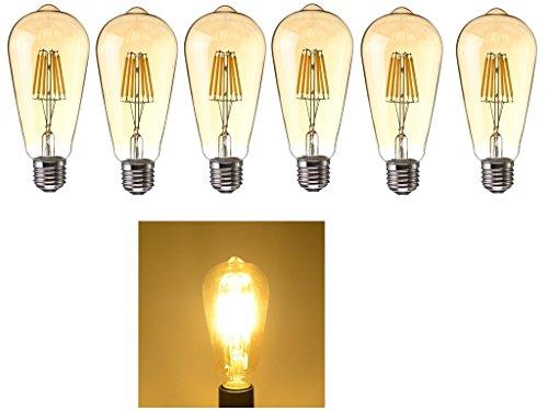 6x E27 6W LED Retro-Leuchtmittel,Warmweiß 2700K 6W Vintage Edison Schraube LED Filament Glühbirne Bernstein klar Deko Lampe Beleuchtung Glühbirne 60W Glühlampe ENERGIESPARENDE Leuchtmittel Ersatz
