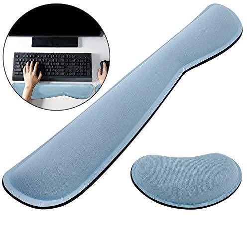 JYHEHOT Alfombrillas de ratón,reposamuñecas para teclado y ratón con espuma de memoria para computadora, almohada ligera antideslizante para muñeca (Azul)