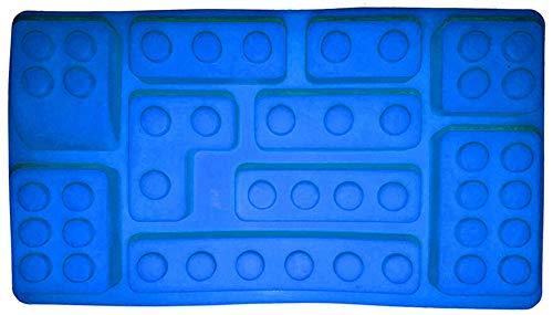 Molde de silicona antiadherente para cubitos de hielo de 5 piezas, moldes para dulces, moldes de chocolate para pasteles con temas de bloques de construcción para hornear, para fiestas (azul)