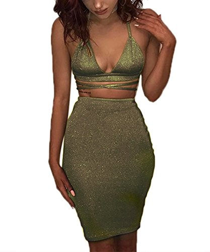 ioiom Women's Sapghetti Strappy Crop Top Bodycon Pencil Skirts Sexy Midi 2 Piece Midnight Go Out Dress Army Green M
