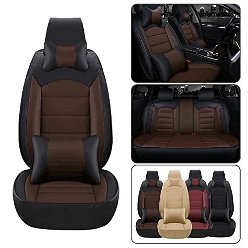 Dinuoda Fundas de asiento de coche de lujo PU cojín de cuero conjunto completo 5 asientos para Lexus RC RC200t RC250 RC300 RC350 asiento de coche Mat cojín protección cojín negro café