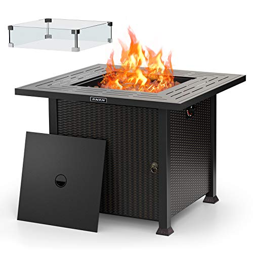 32' Propane Gas Fire Pit Table 50,000 BTU with Glass Wind Guard, 2021 Upgrade, SNAN Auto-Ignition CSA Certification Outdoor Companion