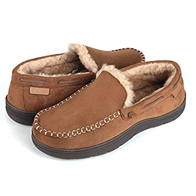 Zigzagger Men's Microsuede Moccasin Slippers Memory Foam House Shoes,Tan,13 M US