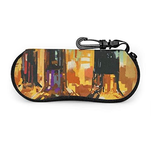 Ahdyr Custodia per occhiali Bottiglia di vino Pittura artistica Occhiali da sole con chiusura a fibbia Borsa morbida Custodia per occhiali con cerniera in tessuto ultraleggero