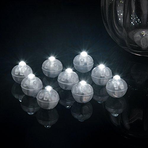Yiran LED Ballonleuchten für Papierlaterne Ballonleuchte Mehrfarbige R Mini Lampen Hochzeitsfeier Weihnachtsdekoration(10 StückWeiß)