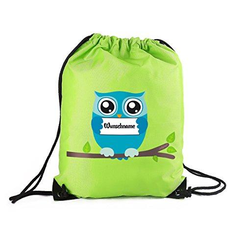 Striefchen® Turnbeutel mit Eule und Wunschnamen in Grün mit Geschenkverpackung