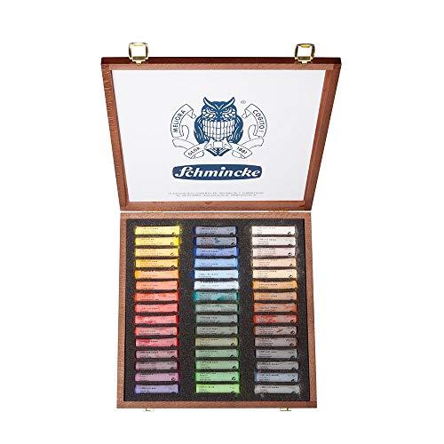 Schmincke 77245097 Lot de 45 couleurs pastel extra doux dans une boîte en bois