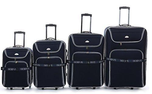 Trolley-Koffer-Set 4-TLG. 85-75-65-55cm, Dehnfalte für XXL-Volumen - schwarz, rot od. blau