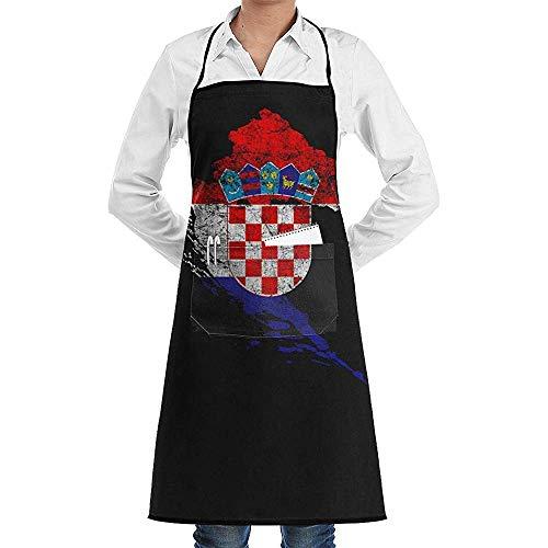 Pag Crane Kroatien Flagge und Karte Kroatische Stolz Küchenschürze Lustige Print Chef Schürze für Grill, Grill, Kochen, Cosplay Party Schürze Männer, Geburtstag