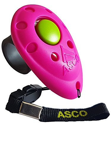 ASCO Premium Clicker, Finger Clicker für Clickertraining, Hunde Katzen Pferde Profi Clicker, Hundetraining Klicker pink AC08F
