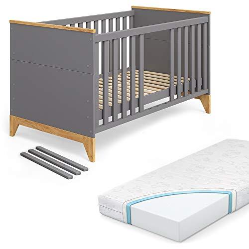 VITALISPA Babybett Malia Kinderbett Gitterbett Beistellbett Jugendbett 140x70cm + Matratze