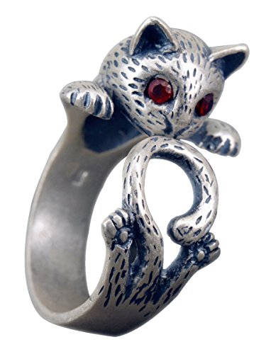NicoWerk Silberring Katze Kitten Vintage Ring Silber 925 Verstellbar Damenringe Damen Schmuck SRI207