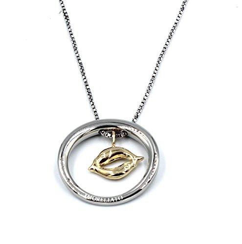 Morellato collana in Acciaio Lucido con Ciondolo Segno Zodiacale Pesci in Oro 18 Kt