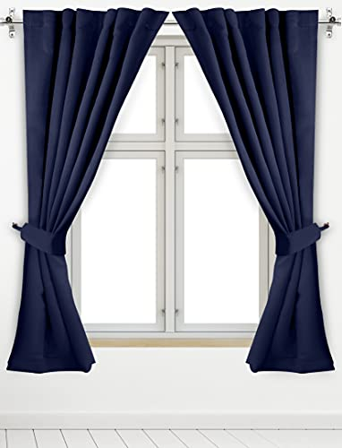 Utopia Bedding 2 Panels Rod Pocket Blackout Curtains with 2 Tie Backs W52 x L63 Inches, Thermal Insulated Window Draperies - 7 Back Loops per Panel, Navy