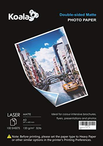 KOALA Fotopapier für Laserdrucker, Doppelseitig, Matt, A3, 120 g/m², 100 Blatt. Geeignet zum Drucken von Fotos, Zertifikaten, Broschüren, Flyern, Faltblättern, Grußkarten, Kalendern, Kunst