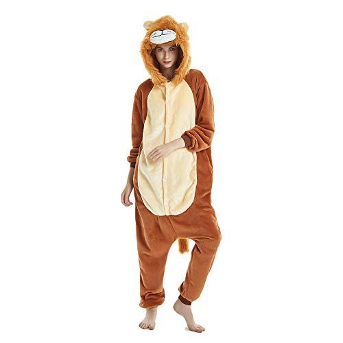 Tickos Animal Onesies Novedad León Mono Pijama Unisexo Adulto Pijama Disfraz de Cosplay de Halloween Disfraces (León-1, Medium)