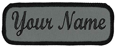 Name Tag Personalized and Embroidered 4 Wide x 1.5 Tall Black Border-Graphite. Iron on.