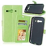 JEEXIA Funda para Alcatel OneTouch Pop C9, Moda Business Flip Wallet Case Cover PU Cuero con Soporte Cubierta Protectora - Verde