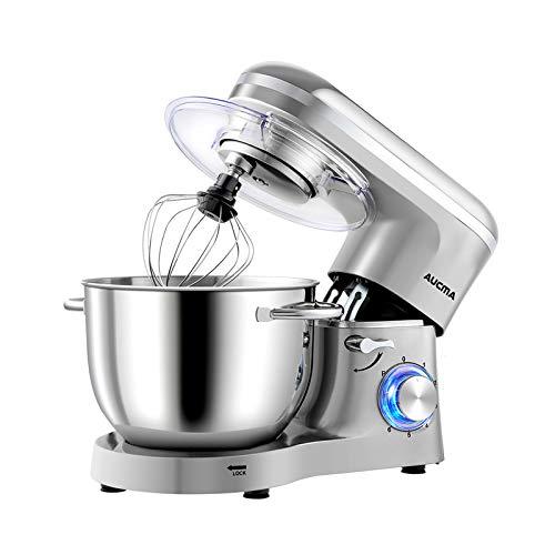 Aucma Impastatrice Planetaria da 1400W,Robot da cucina Mixer 6.2L, Miscelatore Cucina per uso alimentare, 6 Velocità Mixer Elettrico da Cucina con Gancio per Impastare, Frusta, Sbattitore, Argento