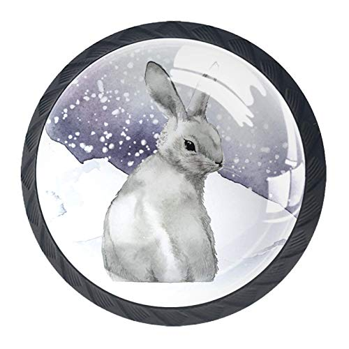 Tirador para muebles Conejo Animal Nieve Invierno manijas del gabinete Pomos y Tiradores cristal Tiradores de Muebles Tirador para Mueble Tirador de Cajon 4 Piezas 3.5x2.8cm