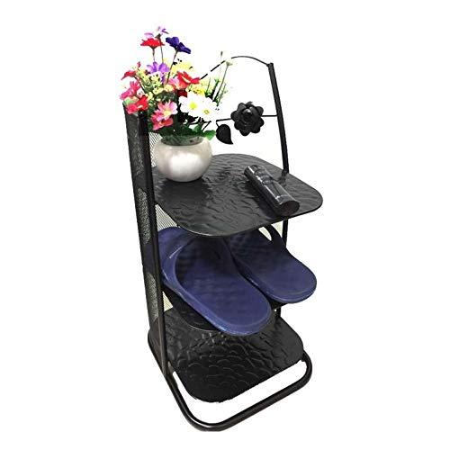 JISHIYU Limitar Zapato Metal Bastidores Ahorrar Espacio for el balcón Entrada de la Esquina Puerta de Entrada de Nivel 3 apilable Estante (Color : Negro)
