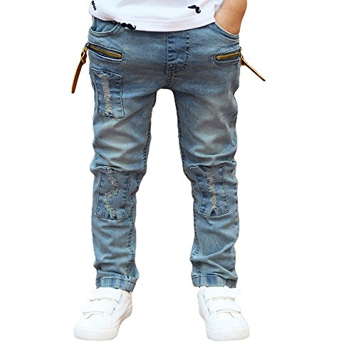 OSYARD Kinder Junge Jeanshosen Pants, Junge Stretch Slim Pale Denim Hose Waschung Thermo Hose Regular Fit,Used-Look Jeans Hose Destroyed Look Thermojeans Thermohose Bikerjeans Sport Joggind Jeans