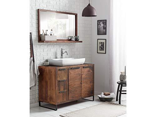 Woodkings® Badset, 2teilig, Waschtisch mit Spiegel Sydney Echtholz Waschtischunterschrank Badmöbel Badezimmer Möbel Holz Unterschrank Badschrank (Akazie dunkel, 105x45)