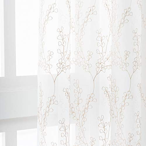 Coffee Tree Branch Leaf White Sheer Curtains - Rod Pocket Embroidery Branch Pattern Curtains 63 Inch Length for Bedroom Light Filtering Privacy Voile Drapes, 52 x 63 Inch, 2 Panels, Coffee