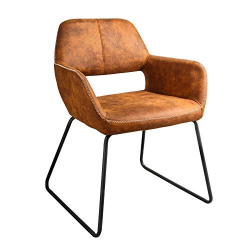 Riess Ambiente Design Stuhl Mustang antik braun Microfaser mit Armlehne Esszimmerstuhl Armlehnenstuhl