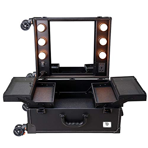 AW Black Rolling Makeup Case with Mirror Light Cosmetic Work Station Storage Luggage Travel Studio Extendable Tray Wheel
