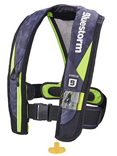 Bluestorm Gear Atmos 40 Inflatable PFD Life Jacket (Hi-Vis Green) | | US Coast Guard Approved Automatic/Manual Life Vest for Adults
