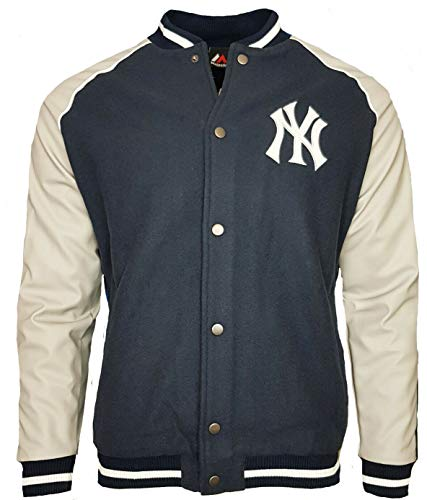 Majestic Veste MLB New York Yankees Letterman Bleu/Gris Taille: S (Small)