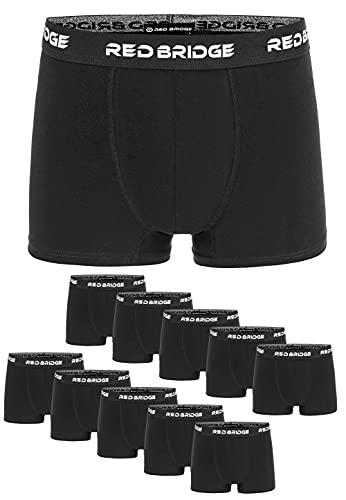 Redbridge Boxershorts Herren 10er-Pack Einfarbig Unifarben Slim Baumwolle Stretch Unterwäsche Basic Schwarz M