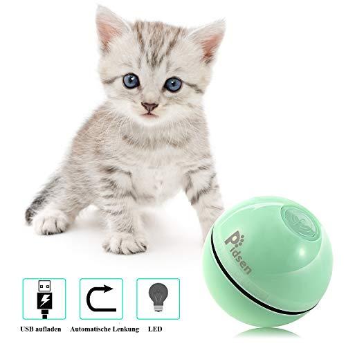Pidsen Interaktives Katzenspielzeug Ball, katzenspielzeug elektrisch Automatisch Rollender Ball mit LED Licht USB-Aufladung für Kätzchen Welpen