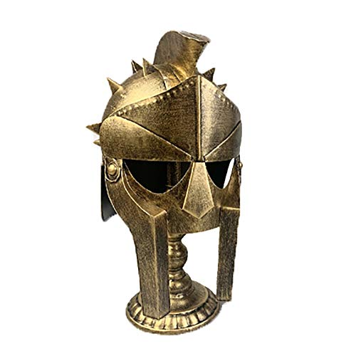 Disfraz medieval Escritorio romano retro Adornos de casco personalizado Hierro fundido Casco medieval Casco de oro, plata Accesorio para sombreros de disfraces ( Color : Gold , Size : 27x33x42cm )