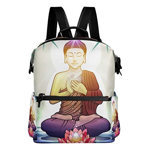 DEZIRO Buddha en meditación con flor de loto, mochila de viaje