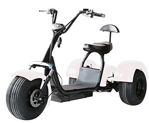 eDrift UH-ES395 Fat Tires 3-Wheel Electric Chopper Trike Scooter Moped with Shocks Harley E-Bike (Matte Black, 20AH) (Black, 20AH 30 Miles)