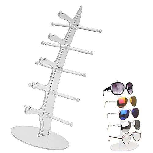 Soporte Contador Ventana Joyería Expositor Creativo Para Gafas De Sol Del Soporte Del Marco Gafas De Sol Organizador De Gafas Soporte Para Gafas Multicapa Para Guardar y Exponer Vasos (Transparente)