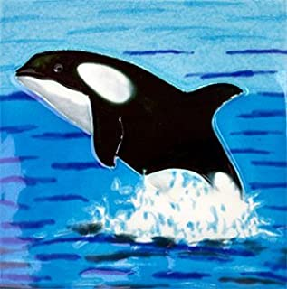 Orca Whale Ceramic Wall Art Decorative Tile 4x4