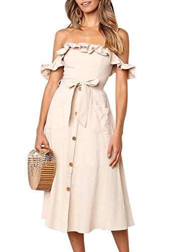 Yieune Sommerkleider Damen Blumen Maxi Kleid Off Shoulder Abendkleid Strandkleid Party Schulter Kleider (Khaki XL)