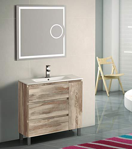 EL ALMACEN DEL PROFESIONAL Juego de Mueble de Baño Modelo Estonia Porcelana, Conjunto formado por Mueble de Baño Estilo Madera Color Bora-Bora Ancho 80cm, Lavabo de Porcelana y Espejo a Juego