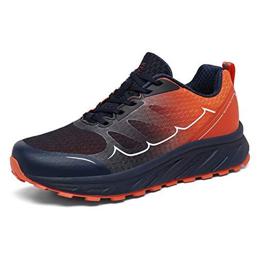 K DUORO Herren Laufschuhe Straßenlaufschuhe Sneaker Leichte Joggingschuhe Turnschuhe Walkingschuhe Traillauf Fitness Schuhe (Blau/Orange, 43 EU, 43)