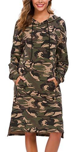 Kormei - Felpa da donna casual a maniche lunghe con cappuccio e tasche - multicolore - S