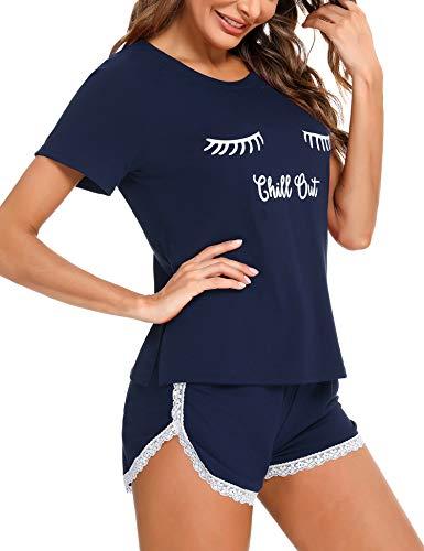 iClosam Pijama Algodón Mujer Verano Corto Conjunto de Pijamas Borde de Encaje Ropa de Dormir Linda y Comodo (XXL,Azul)