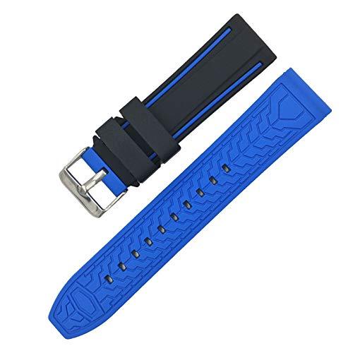 WSGGFA Silicona Soft Sport Wamkband 20mm 22mm 24mm 26mm Buceo de Goma Hombres Impermeables Reemplazo Pulsera Banda Correa Reloj Accesorios (Band Color : Black Blue, Band Width : 24mm)